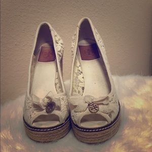 Tory Burch Lace Wedges 7B